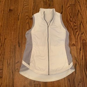 white lululemon vest with grey striped details